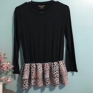 Kate Spade 3/4 sleeve mixed media blouse